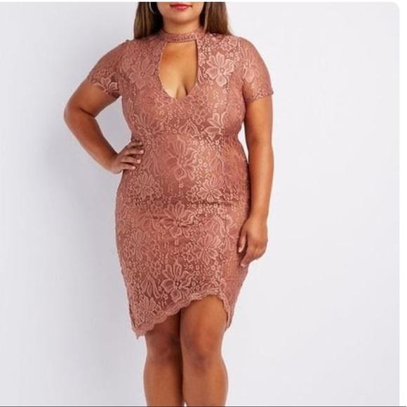 Plus Size Lace Choker Neck Bodycon Dress in 3XL